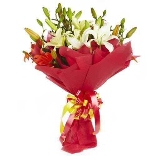 White and Orange Lilies - for Flower Delivery in India