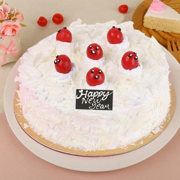 White Forest New Year Cake - for Online Flower Delivery In India