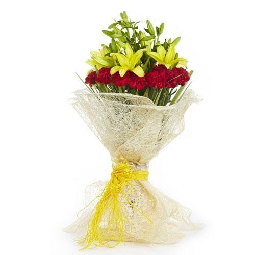 Yellow Lilies and Red Carnations - for Midnight Flower Delivery in India