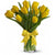 Yellow Tulips In Glass Vase- - Send Flowers to India -This beautiful arrangement consists of: 10 yellow tulips Crystal clear glass vase Note: This product is available for delivery in Bangalore city only.