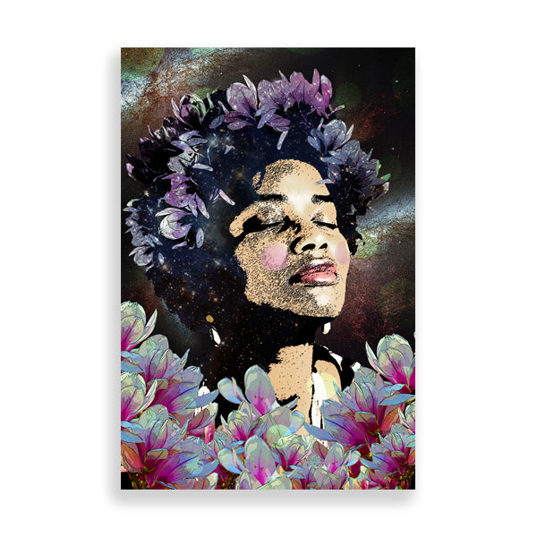 Afro Flowers art print by delphine alphonse