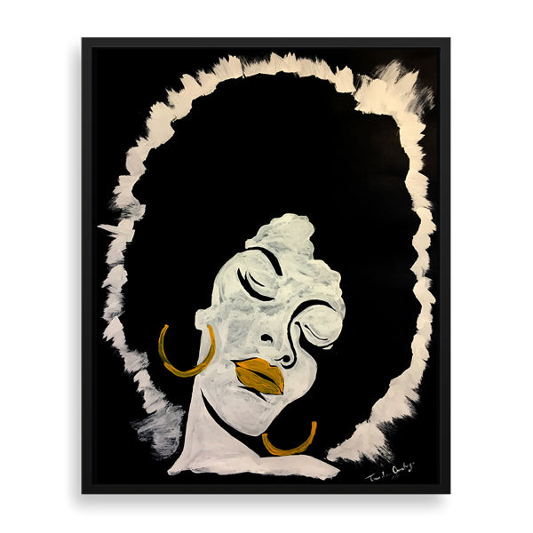 afro lady framed print by nigerian artist tunde omotoye