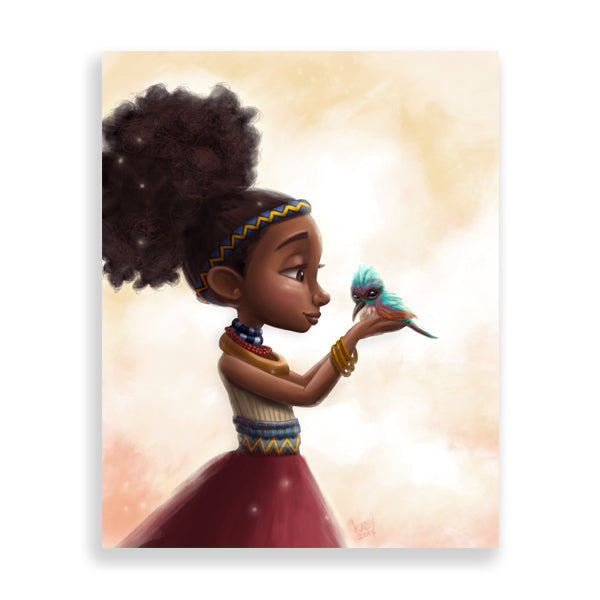 a little birdie art print by south-african artist dope lady kady