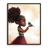 little birdie framed print by south-african artist dope lady kady