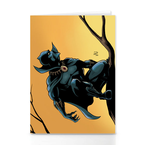 black panther colour greeting card by marcus kwame