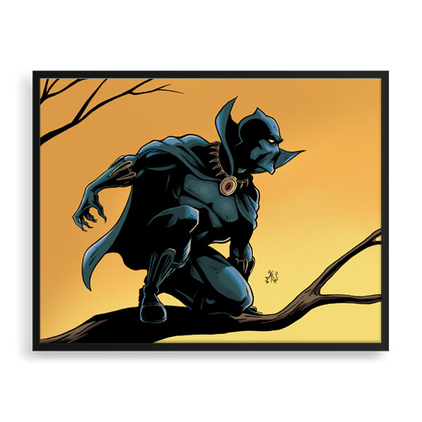 black panther colour framed print by african-american illustrator marcus kwame