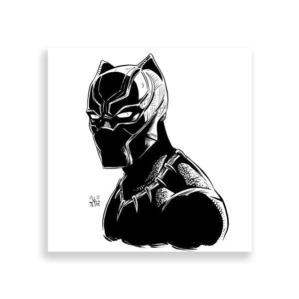 black panther ink art print by marcus kwame