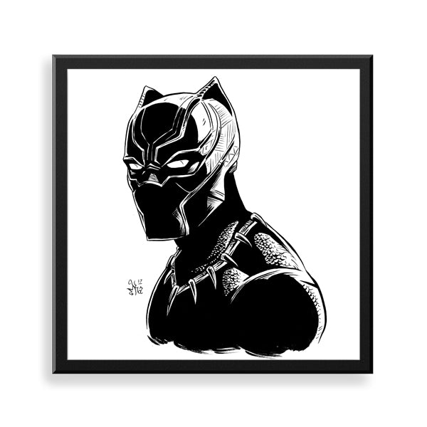 black panther ink framed print by african-american illustrator marcus kwame