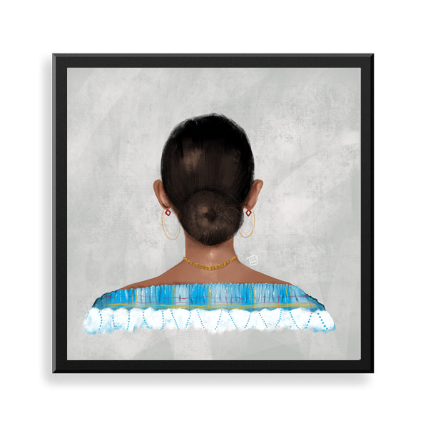 Blue Madras framed art print by Ly Tangi