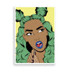 green-haired girl art print by black-british artist nyanza d