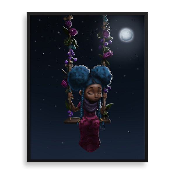 moonlight framed print by south-african artist dope lady kady