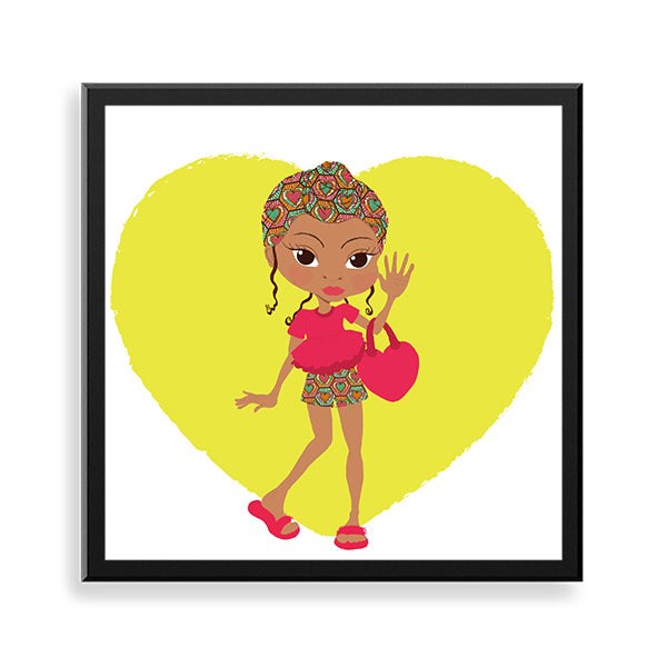 naeemah black art framed print by Fefus Designs