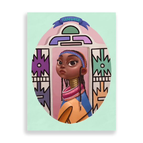 ndebele art print by south-african artist dope lady kady