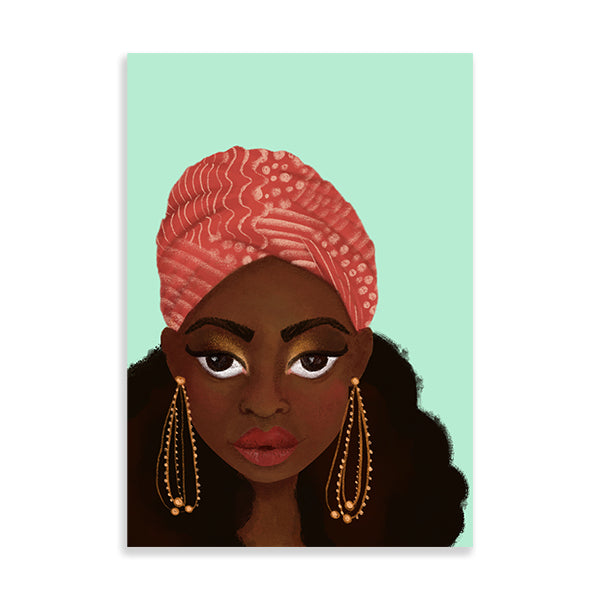 nubian black art print by Fefus Designs