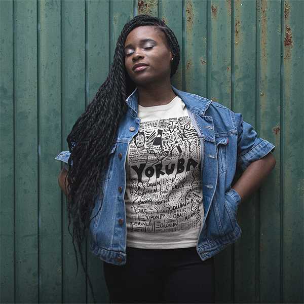 yoruba tshirt by tunde omotoye - worn by model