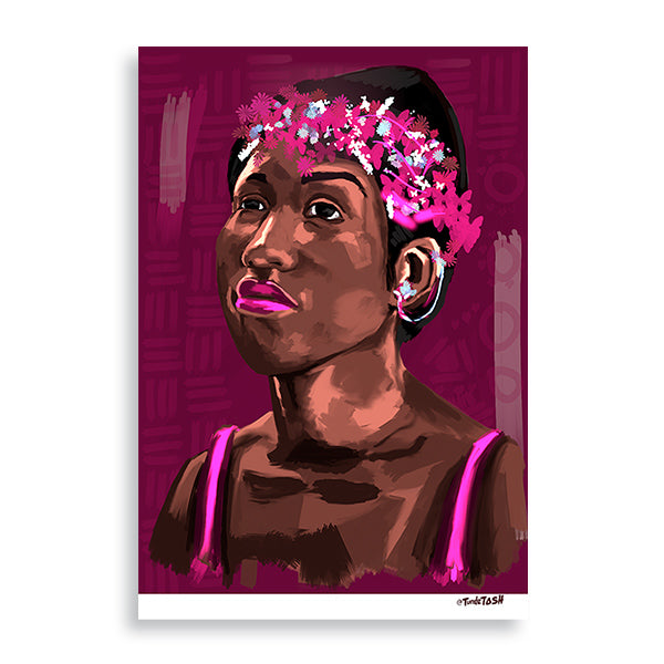 Young Aretha art orint by Tunde Omotoye