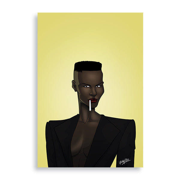 grace jones art print by african artist billy makembele