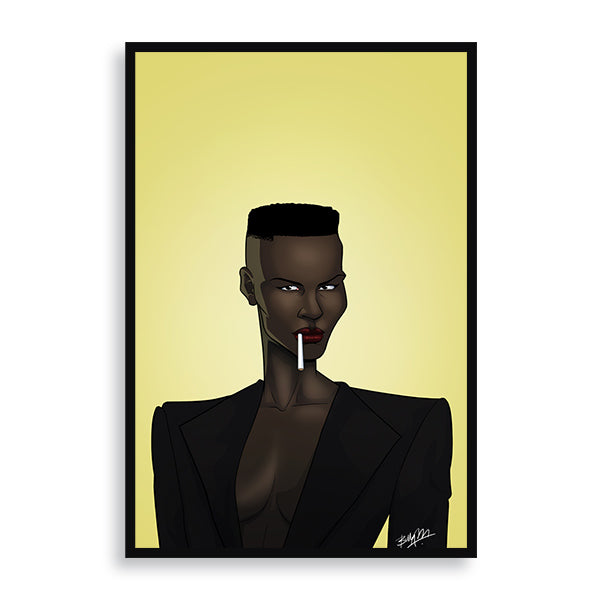 grace jones framed print by african artist billy makembele