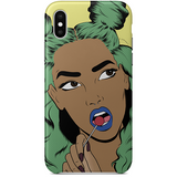 green-haired girl iPhone x case by black-british artist nyanza d