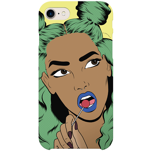 green-haired girl iPhone case by black-british artist nyanza d
