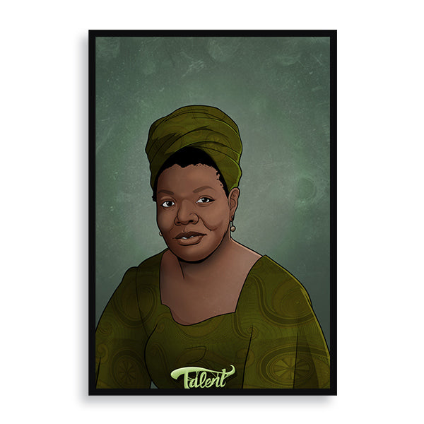 Maya Angelou framed print by african artist billy makembele