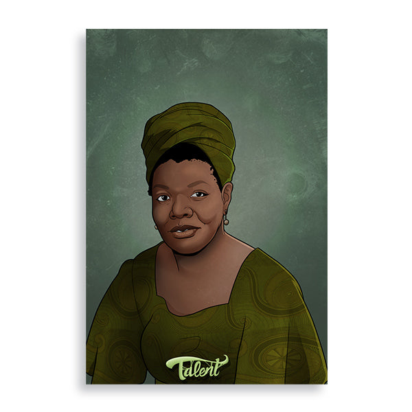 maya angelou art print by african artist billy makembele