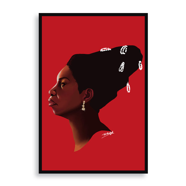 Nina Simone framed print by african artist billy makembele