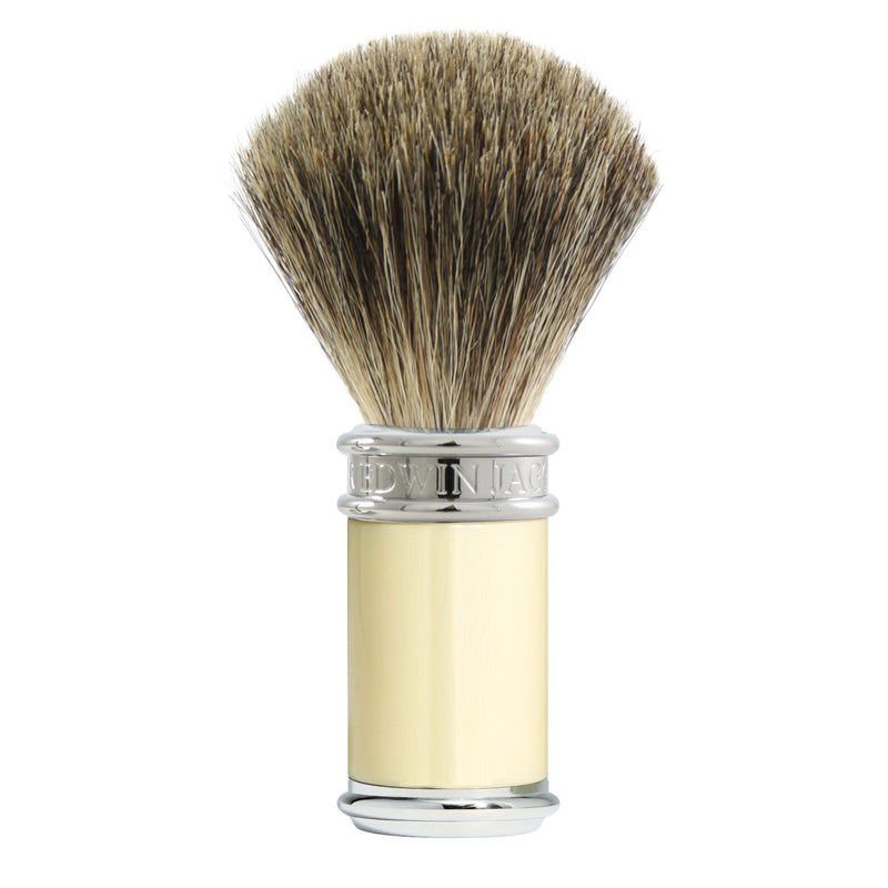 Ivory/Chrome Pure Badger Shaving Brush-Senseaura
