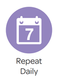"Cartoon image of a calendar with the number 7 on it, and the caption ""repeat daily"" in text underneath"