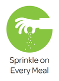 "cartoon image of a hand sprinkling seaweed powder with the caption ""Sprinkle on every meal"" in text underneath"