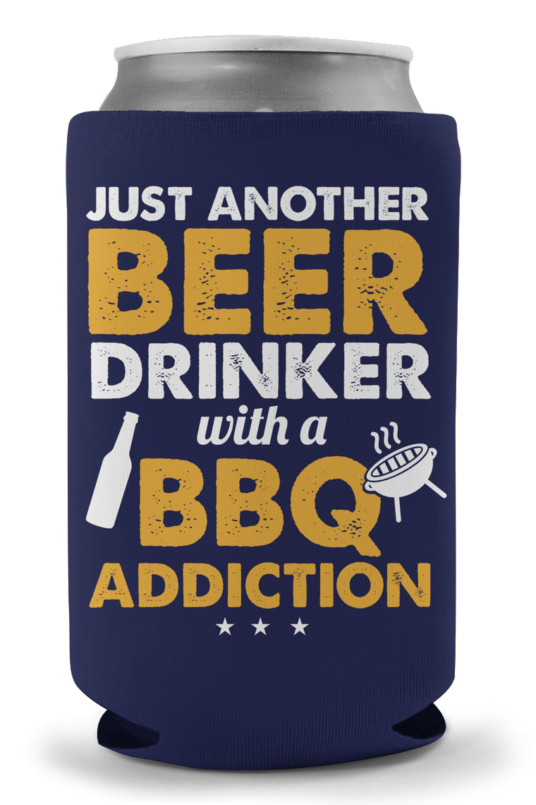 Beer Drinker With BBQ Addiction Koozie