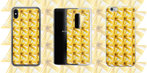 Slider image of hinesii phone cases. Original artwork patterns printed on fashion apparel, home decor and everyday lifestyle products like fanny packs, tote bags and ceramic mugs