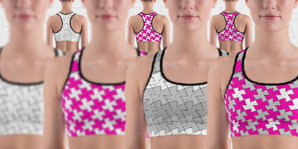 Slider image of hinesii Tessie sports bras. Original artwork patterns printed on fashion apparel, home decor and everyday lifestyle products like fanny packs, tote bags and ceramic mugs