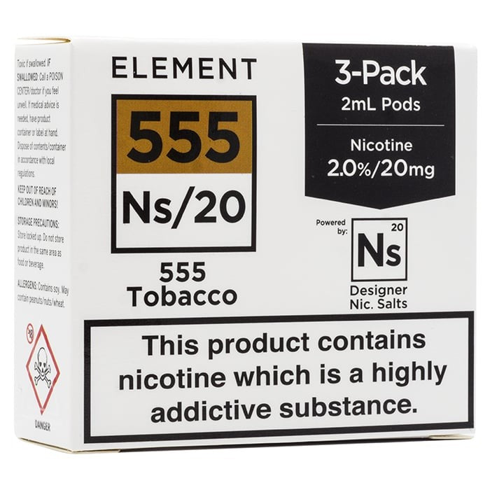 Vape Review of Element NS20 Series - 555 Tobacco Pods