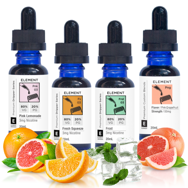 Vape Review of Element Pink Lemonade, Pink Grapefruit, Frost & Fresh Squeeze Juice Sampler (80 ML)