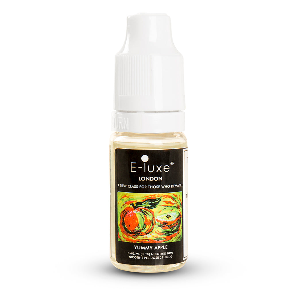 Vape Review of YUMMY APPLE - PREMIUM CLOUDCHASER E-LIQUID BY E-LUXE LONDON - APPLE FLAVOURED E-LIQUID
