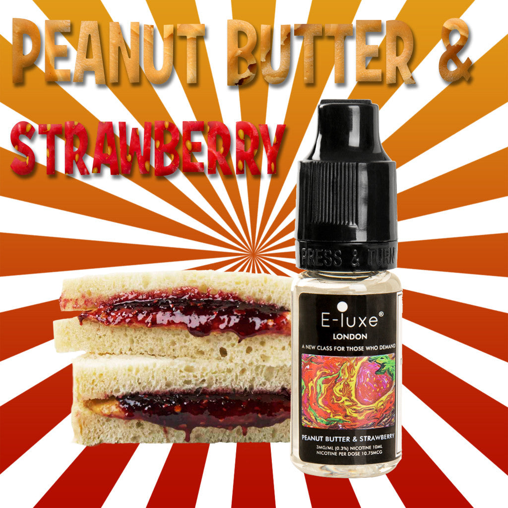 Peanut Butter & Strawberry - Premium E-Liquid by E-Luxe London - 3mg nicotine - 50vg 50pg