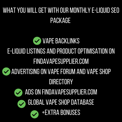 E-Liquid SEO Monthly Package - E-Juice SEO and Vape Advertising