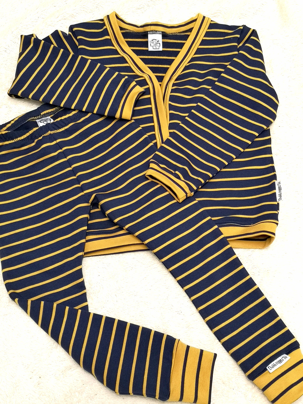 Navy & Mustard Cardigan and Leggings