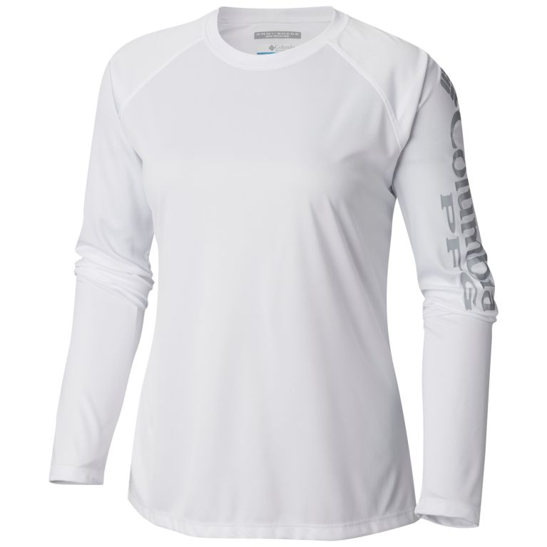 Columbia Women's PFG Tidal Tee™ II Long Sleeve - Plus Size White/Cool Grey Logo