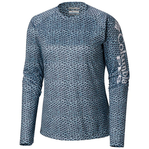 Columbia Women's PFG Super Tidal Tee™ Long Sleeve Collegiate Navy Fish Scale