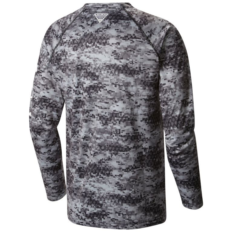 Columbia Men's PFG Super Terminal Tackle™ Long Sleeve Shirt Black Digi Scale Print
