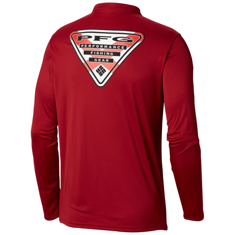 Columbia Men's Terminal Tackle PFG Triangle Flag™ Long Sleeve Shirt Plus Size Beet