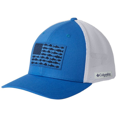 Columbia PFG Mesh Fish Flag Ball Cap Vivid Blue/White