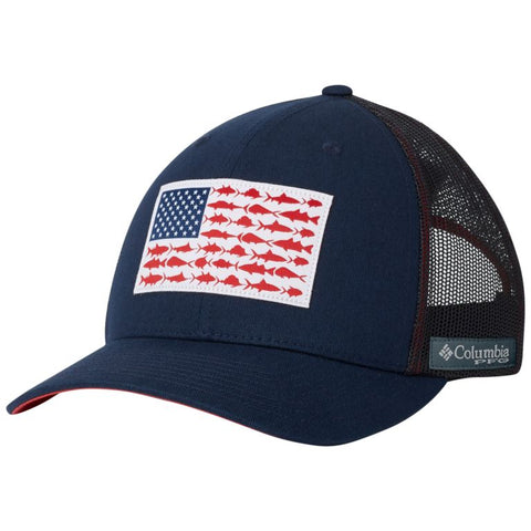 Columbia PFG Mesh Snap Back™ Fish Flag Ballcap Collegiate Navy/Sunset Red