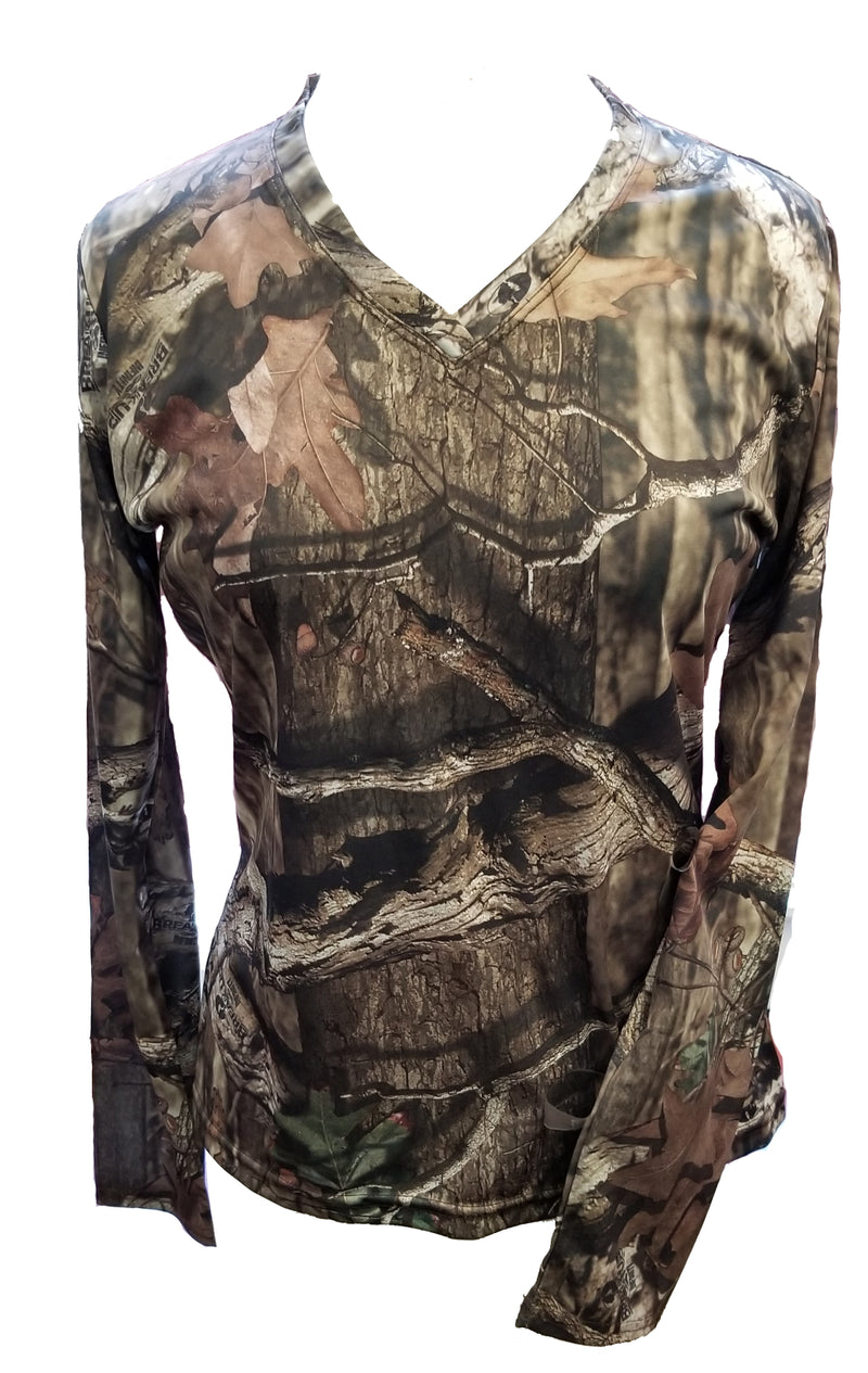 Bimini Bay Outfitters Women's Long Sleeve Camo V-Neck Shirt