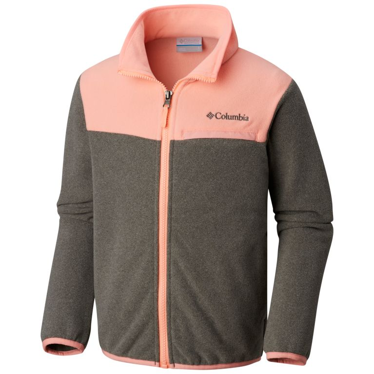 3dd6a16a9 Columbia Youth Boy's Mountain Crest Fleece Jacket Charcoal Heather/Tiki Pink