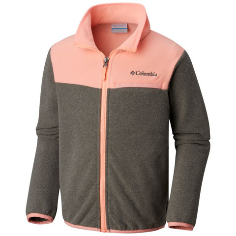 Columbia Youth Boy's Mountain Crest Fleece Jacket Charcoal Heather/Tiki Pink