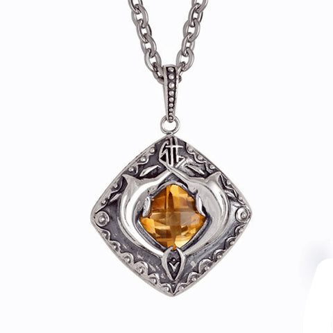 Guy Harvey Double Marlin Necklace Citrine