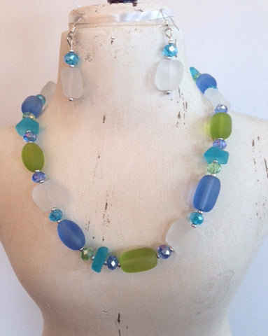 Sea Glass Necklace Set FN821